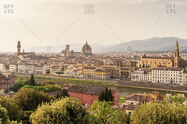 April 27, 2018: Florence, view from Piazzale Michelangelo, evening mood