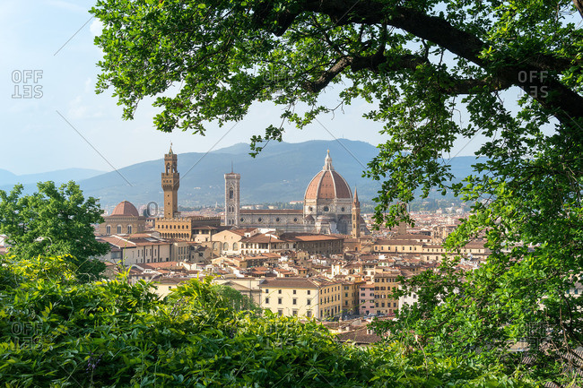 April 28, 2018: Florence, view from Oltrarno to the old town