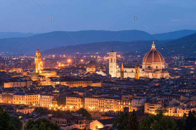 April 29, 2018: Florence, Dome and Palazzo Vecchio at the blue hour