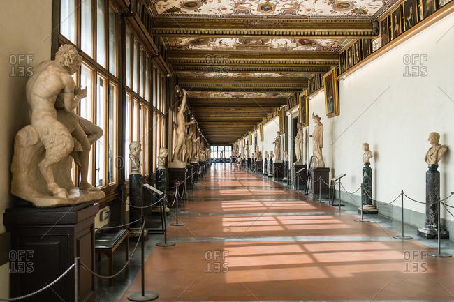 April 28, 2018: Florence, Galleria degli Uffizi, Corridor