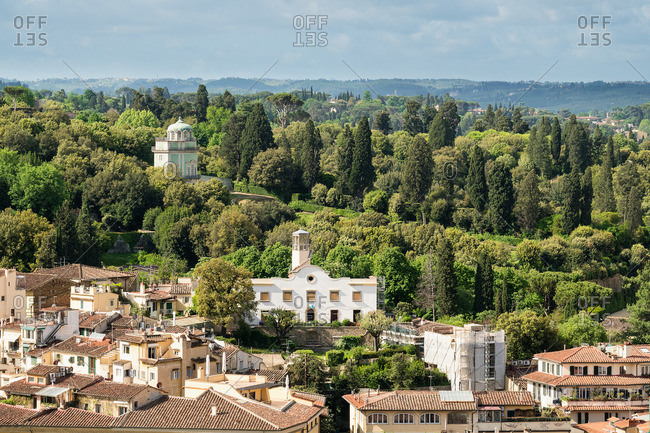 Florence, Palazzo Vecchio, view towards Giardino Boboli, coffee house