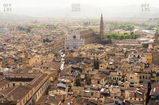 Florence, Palazzo Vecchio, tower ascent, east view, Basilica di Santa Croce