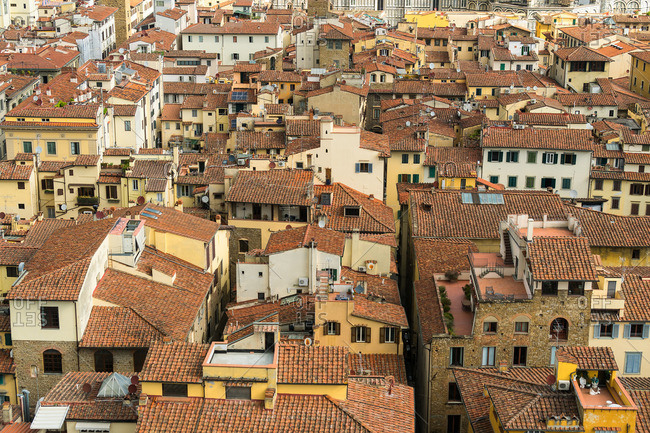 April 30, 2018: Florence, Palazzo Vecchio, tower ascent, view of the old town roofs