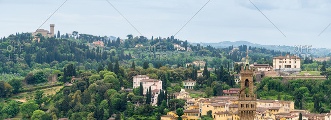 Florence, panorama, Fort Belvedere and Chianti mountains