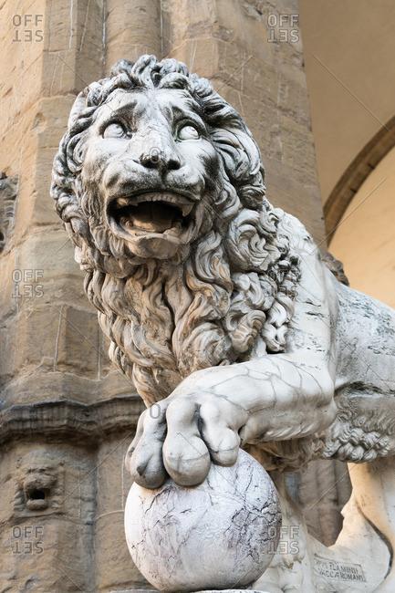 Florence, Piazza della Signoria, Loggia dei Lanzi, Donatello's Marzocco