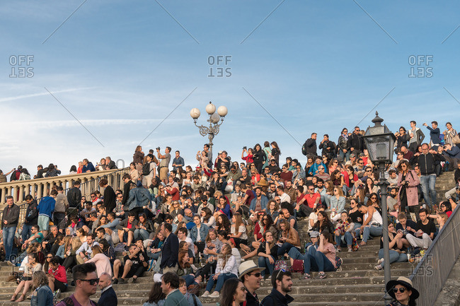 April 30, 2018: Florence, Piazzale Michelangelo, stairs, people