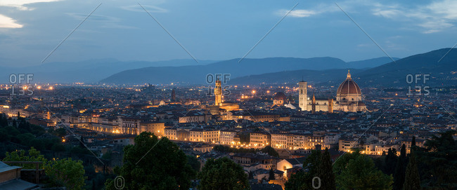 Panorama Florence, view from San Miniato al Monte to the old town