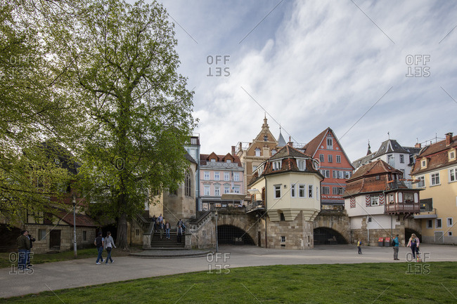 March 19, 2016: Inner bridge and Maille Park in Esslingen