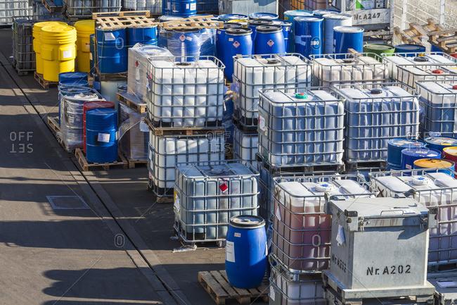 April 6, 2018: Germany, Baden-Württemberg, Stuttgart, storage area, various pollutants, waste disposal