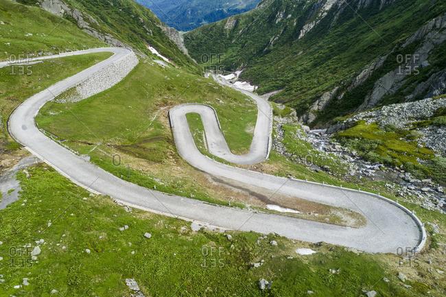 Aerial photo Tremola, pass road Gotthardpass, canton Ticino, Switzerland