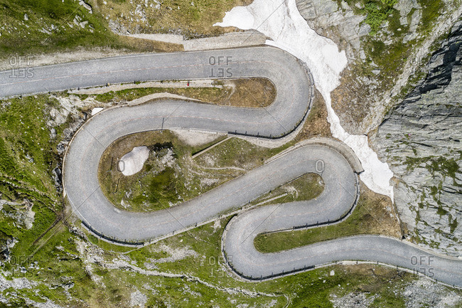 Aerial photo Tremola, pass road Gotthardpass, canton Ticino, Switzerland