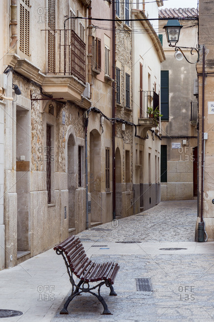Empty alley in Pollenca, city in the northeast of the island of Mallorca, Mediterranean Sea, Balearic Islands, Spain, Southern Europe