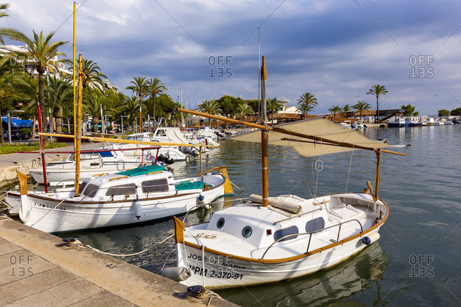 June 6, 2017: Boats in the harbor of Puerto de Alcudia, north coast of the island Mallorca, Mediterranean, Spain, Southern Europe