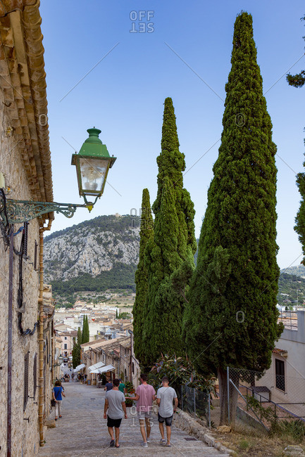 June 7, 2017: Stairs to Calvary, Pollenca, city in the northeast of the island of Mallorca, Mediterranean Sea, Balearic Islands, Spain, Southern Europe