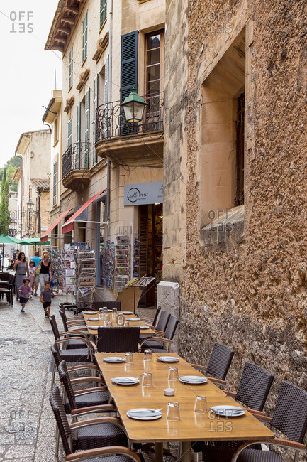 June 7, 2017: Restaurant in Pollenca, city in the northeast of the island of Mallorca, Mediterranean Sea, Balearic Islands, Spain, Southern Europe