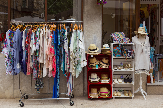 June 7, 2017: Boutique in Pollenca, city in the northeast of the island of Mallorca, Mediterranean Sea, Balearic Islands, Spain, Southern Europe