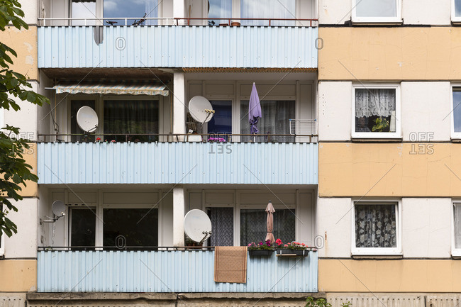 June 13, 2018: Germany, Mecklenburg-Western Pomerania, Schwerin, Dreesch, prefabricated housing estate, balconies