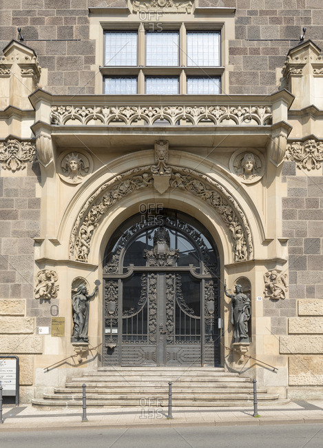 April 21, 2018: Germany, North Rhine-Westphalia, Wuppertal, entrance portal of the town hall of Elberfeld,