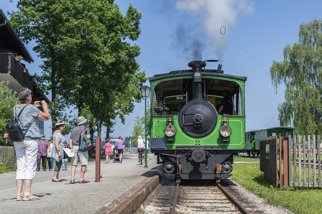 June 12, 2015: Steam locomotive in Prien am Chiemsee, district Prien-Stock, Chiemgau, Upper Bavaria, Bavaria, southern Germany, Germany, Europe