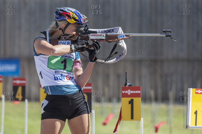 September 12, 2015: Miriam Gossner, German Championship in biathlon, relay in the Chiemgau-Arena, Ruhpolding, Chiemgau, Upper Bavaria, Bavaria, Germany