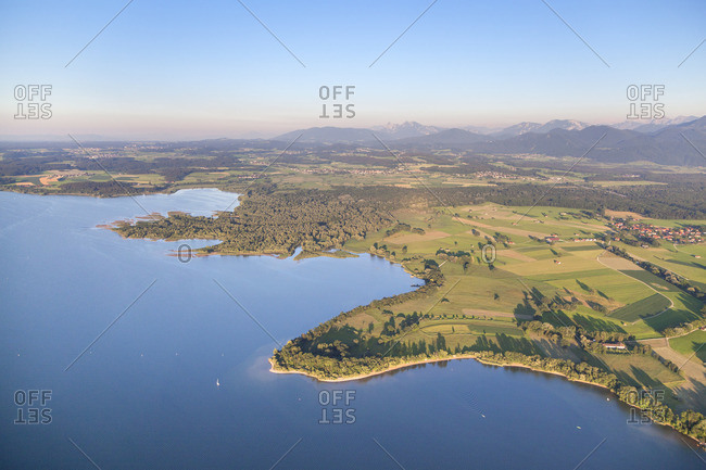View of the Chiemsee and Chiemgau Alps, Chiemgau, Upper Bavaria, Bavaria, southern Germany, Germany, Europe