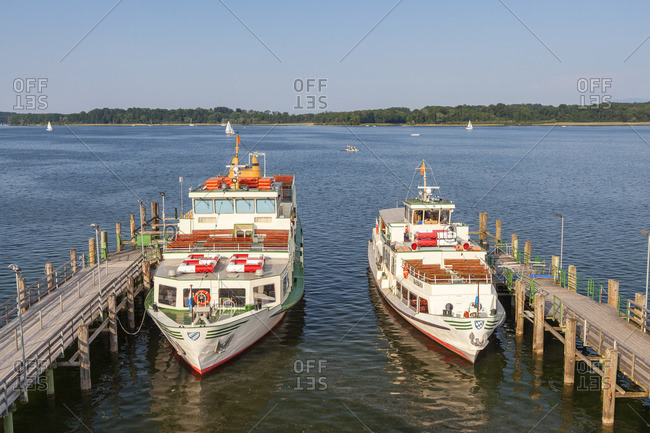 June 12, 2015: Excursion boats on the Chiemsee in Prien, Chiemgau, Upper Bavaria, Bavaria, Southern Germany, Germany, Europe