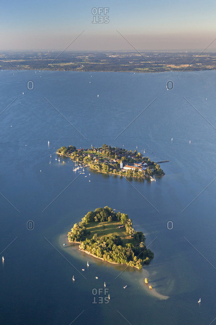 View of the Fraueninsel and Krautinsel in Chiemsee, Chiemgau, Upper Bavaria, Bavaria, southern Germany, Germany, Europe