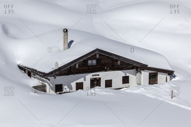 April 9, 2015: Alm in the ski resort Winklmoosalm, Reit im Winkl, Chiemgau Alps, Chiemgau, Upper Bavaria, Bavaria, Southern Germany, Germany, Europe