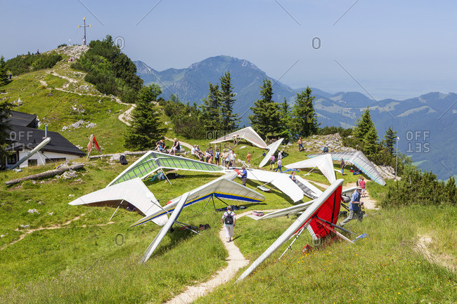 July 4, 2015: Hang gliders on the launch site, Vorderer Rauschberg, Ruhpolding, Chiemgau Alps, Chiemgau, Upper Bavaria, Bavaria, southern Germany, Germany, Europe