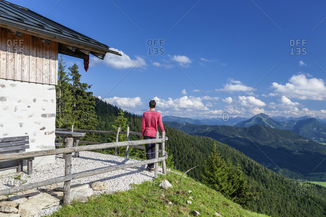 Cheese from the Piesenhauser alp in the Chiemgau Alps with a view of the main ridge of the Alps, Marquartstein, Chiemgau, Upper Bavaria, southern Germany, Germany, Europe