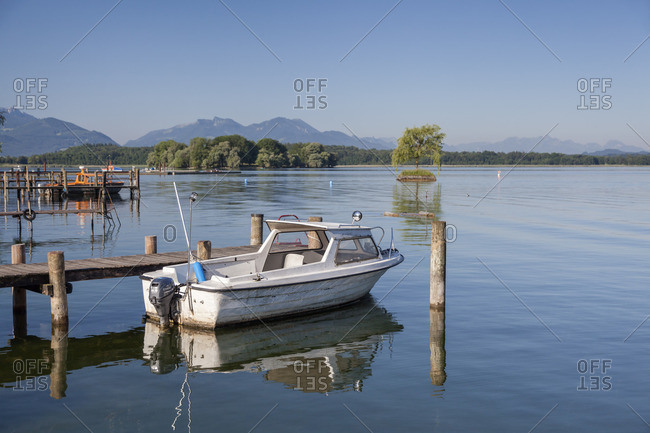 July 1, 2015: View of the Chiemsee and the Chiemgau Alps from the Fraueninsel, Frauenchiemsee, Chiemsee, Chiemgau, Upper Bavaria, Bavaria, southern Germany, Germany, Europe