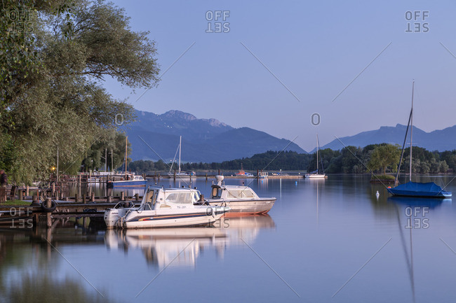 June 30, 2015: View from the Fraueninsel over the Chiemsee to the Chiemgau Alps with Kampenwand, Frauenchiemsee, Chiemsee, Chiemgau, Upper Bavaria, Bavaria, southern Germany, Germany, Europe