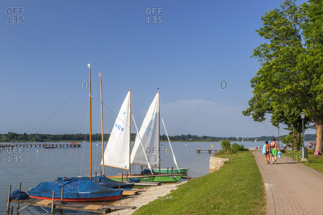 July 4, 2015: Shore at Chiemsee in Prien, Chiemgau, Upper Bavaria, Bavaria, southern Germany, Germany, Europe