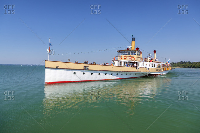 August 22, 2015: Paddle steamer Ludwig Fessler on the Chiemsee, Chieming, Chiemgau, Upper Bavaria, Bavaria, southern Germany, Germany, Europe