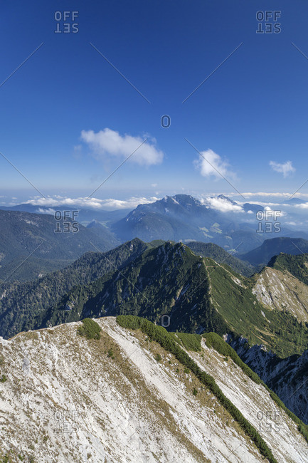 View from the summit of the Sonntagshorn (1961 m), Ruhpolding, Chiemgau Alps, Chiemgau, Upper Bavaria, Bavaria, Southern Germany, Germany, Europe