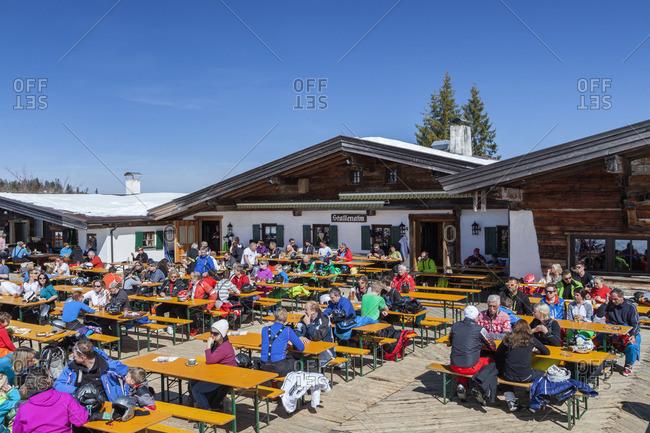 April 9, 2015: Inn Stallenalm in the ski resort Winklmoos Steinplatte, Reit im Winkl, Chiemgau Alps, Chiemgau, Upper Bavaria, Bavaria, Southern Germany, Germany, Europe