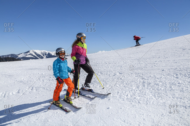 April 9, 2015: Skiing in the ski resort Winklmoosalm, Reit im Winkl, Chiemgau Alps, Chiemgau, Upper Bavaria, Bavaria, Southern Germany, Germany, Europe
