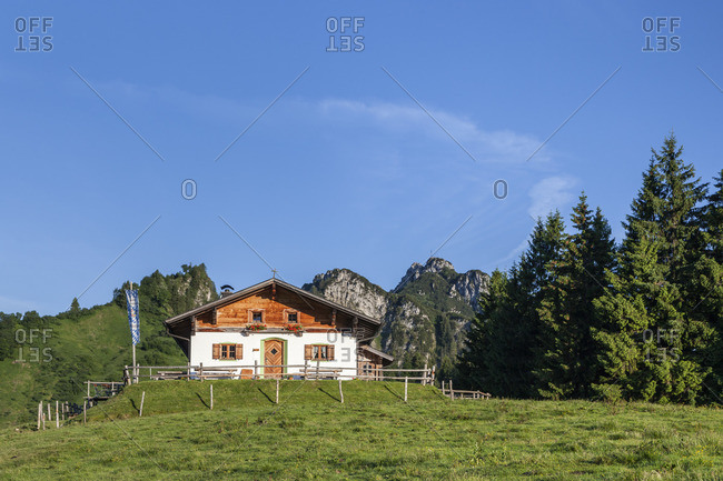 June 25, 2015: Piesenhauser alp in front of the Kampenwand, Chiemgau Alps, Marquartstein, Chiemgau, Upper Bavaria, southern Germany, Germany, Europe