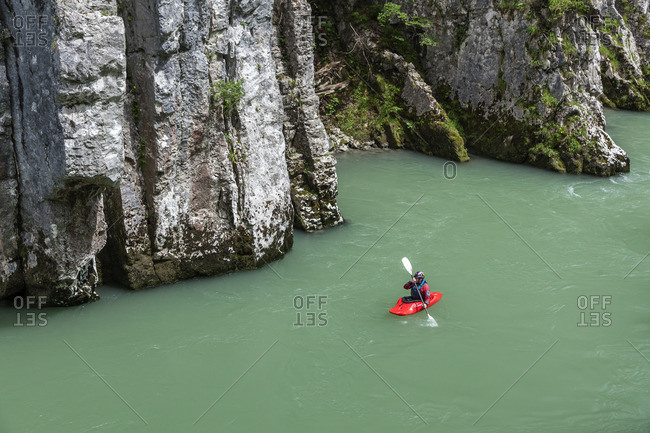 June 25, 2015: Kayaker in the Entenlochklamm near Schleching, Chiemgau, Upper Bavaria, southern Germany, Germany, Europe