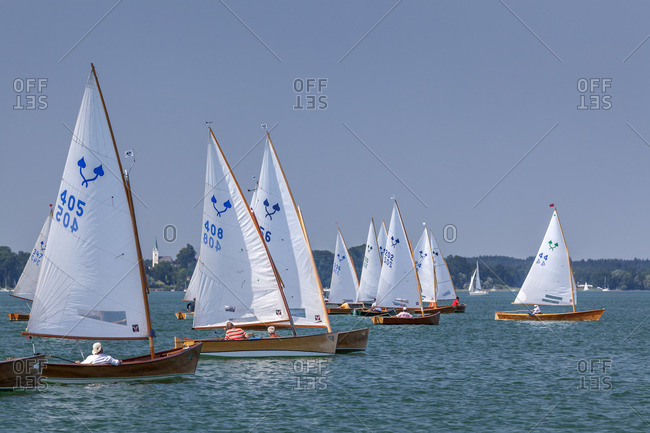July 11, 2015: Sailor Chiemseeplatte on the Chiemsee, Chiemgau, Upper Bavaria, Bavaria, southern Germany, Germany, Europe