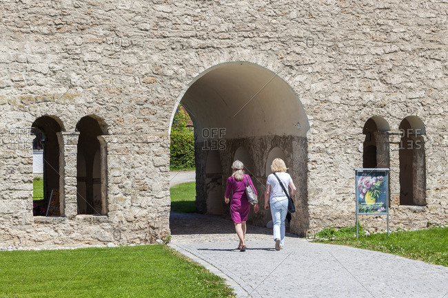 July 1, 2015: Carolingian Gate Hall of the Frauenworth Monastery on Fraueninsel, Frauenchiemsee, Chiemsee, Chiemgau, Upper Bavaria, Bavaria, Southern Germany, Germany, Europe