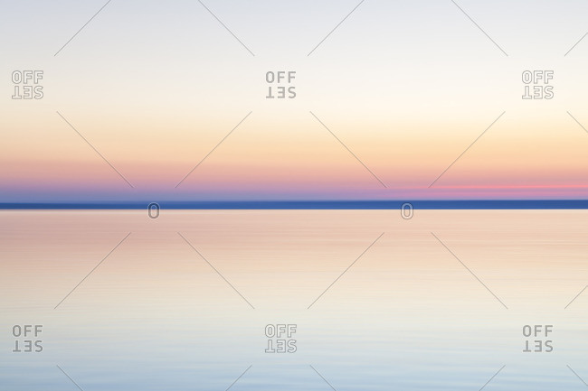 Sunset over the Chiemsee, Fraueninsel, Frauenchiemsee, Chiemgau, Upper Bavaria, Bavaria, southern Germany, Germany, Europe