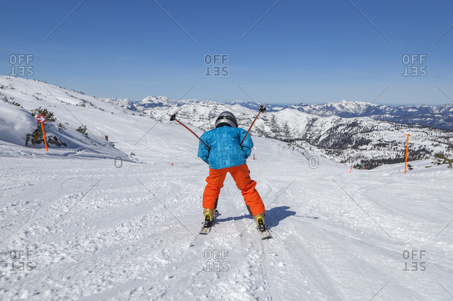 April 9, 2015: Skiing in the Winklmoosalm ski area, Reit im Winkl, Chiemgau Alps, Chiemgau, Upper Bavaria, Bavaria, Southern Germany, Germany, Europe