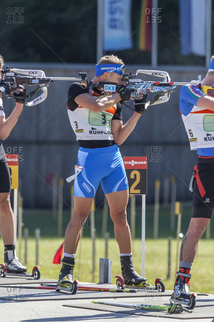 September 12, 2015: Andreas Birnbacher during the German Biathlon Championship, Relay in the Chiemgau Arena, Ruhpolding, Chiemgau, Upper Bavaria, Germany