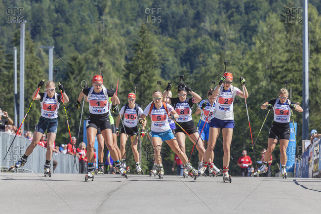September 12, 2015: Start of the Women's Relay, German Biathlon Championship, Relay in the Chiemgau Arena, Ruhpolding, Chiemgau, Upper Bavaria, Bavaria, Germany