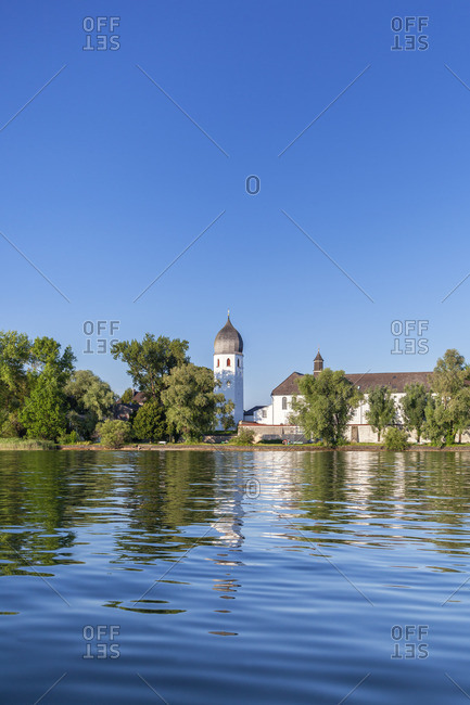 View of Fraueninsel with Frauenworth Monastery, Frauenchiemsee, Chiemsee, Chiemgau, Upper Bavaria, Bavaria, Southern Germany, Germany, Europe