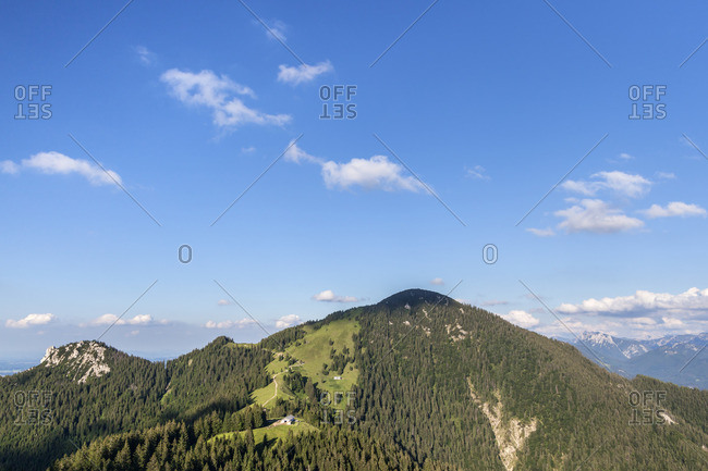 View from Piesenhauser alp to Hochplatte (1586 m) in the Chiemgau Alps, Marquartstein, Chiemgau, Upper Bavaria, Southern Germany, Germany, Europe