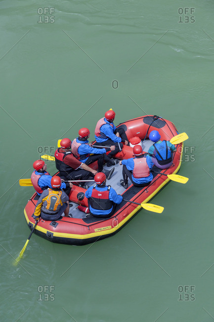 June 25, 2015: Rafting in the Entenlochklamm near Schleching, Chiemgau, Upper Bavaria, Southern Germany, Germany, Europe