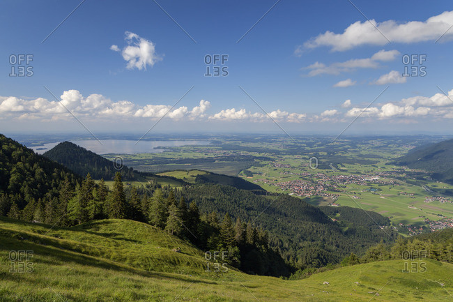 View from the Hochplatte in the Chiemgau Alps to Marquartstein, Grassau and Chiemsee, Chiemgau, Upper Bavaria, Southern Germany, Germany, Europe