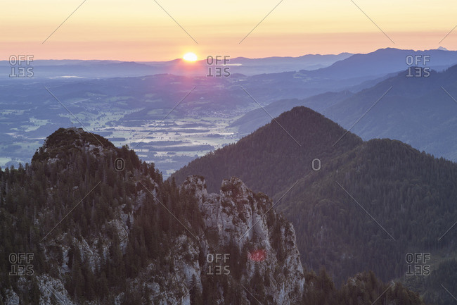 Sunrise with view to Gedererwand, Chiemgau, Upper Bavaria, Bavaria, southern Germany, Germany, Europe